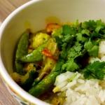 Zielone curry z lososiem....