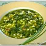 Zupa szpinakowa oliwkowa.
