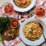 Spaghetti z krewetkami,...