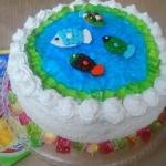 tort: staw z rybkami