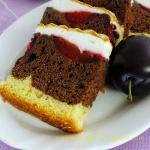dwukolorowe ciasto ze...