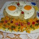 Jajka sadzone, kasza,...