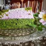Zielony tort z malinowo...